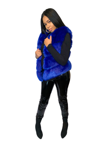 Reign Faux Fur Vest - Royal Blue