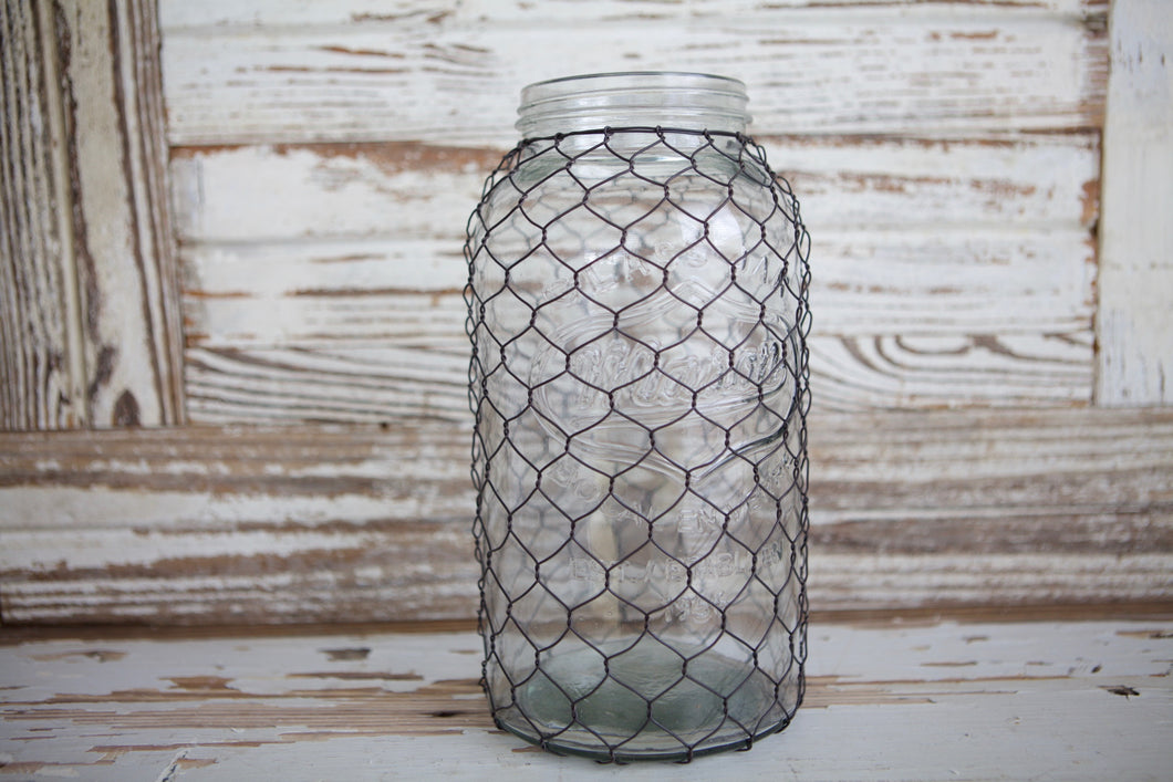 XL Mason Jar With Chicken Wire