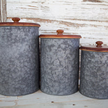 Load image into Gallery viewer, Galvanized Canister Set