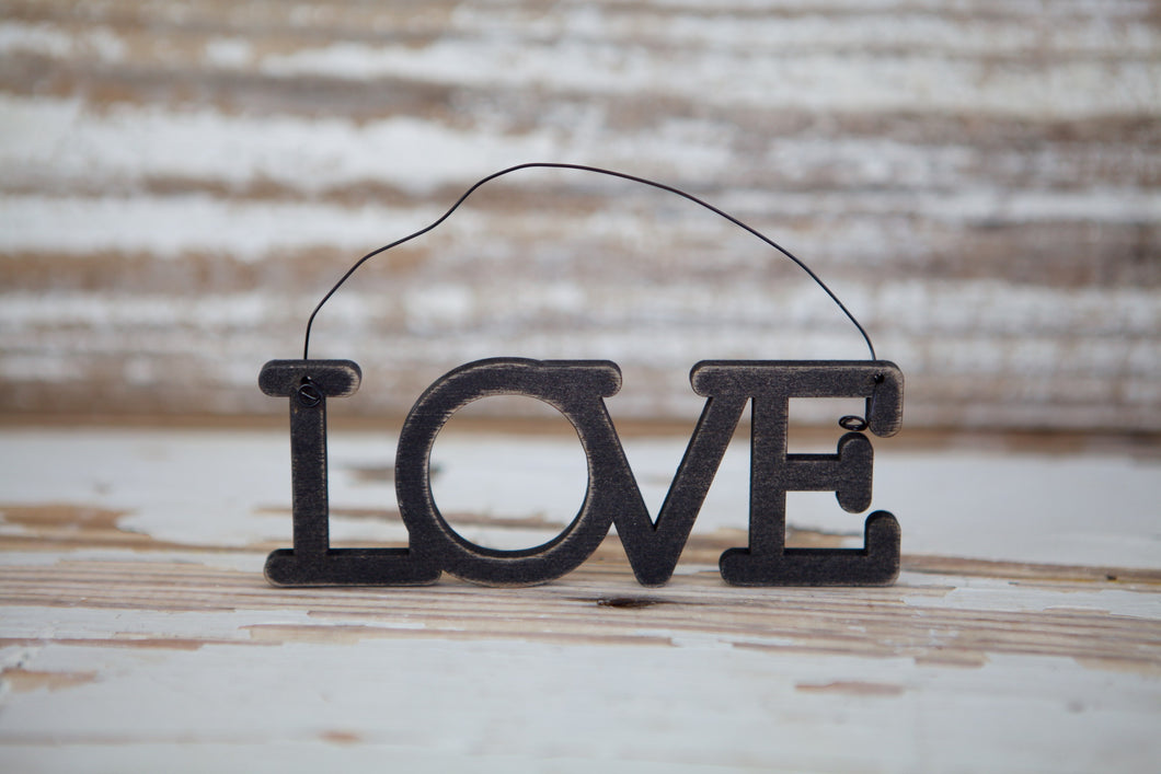 Hanging Wood Love Cutout