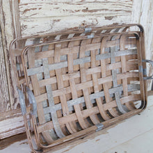 Load image into Gallery viewer, Distressed Wood & Metal Tobacco Basket Set