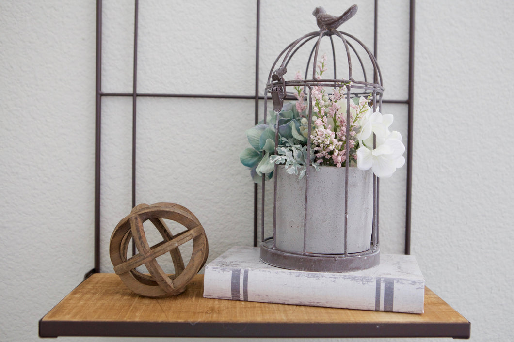 Metal Birdcage with Planter Pot