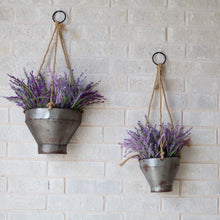 Load image into Gallery viewer, Galvanized Wall Hanging Planters - Set of 2