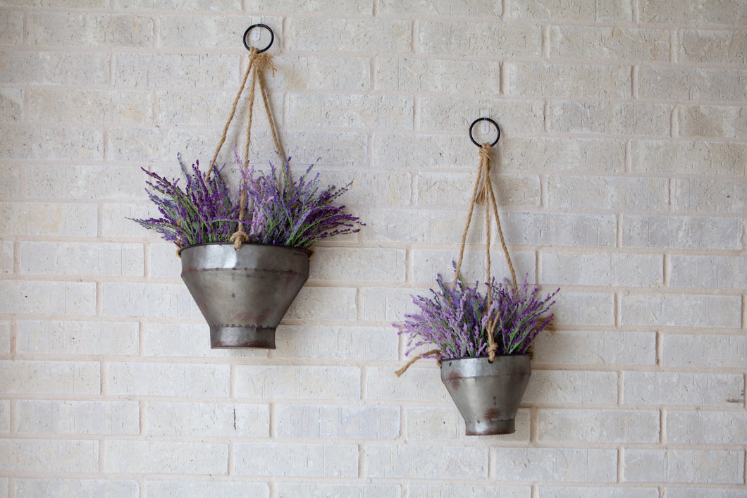 Galvanized Wall Hanging Planters - Set of 2