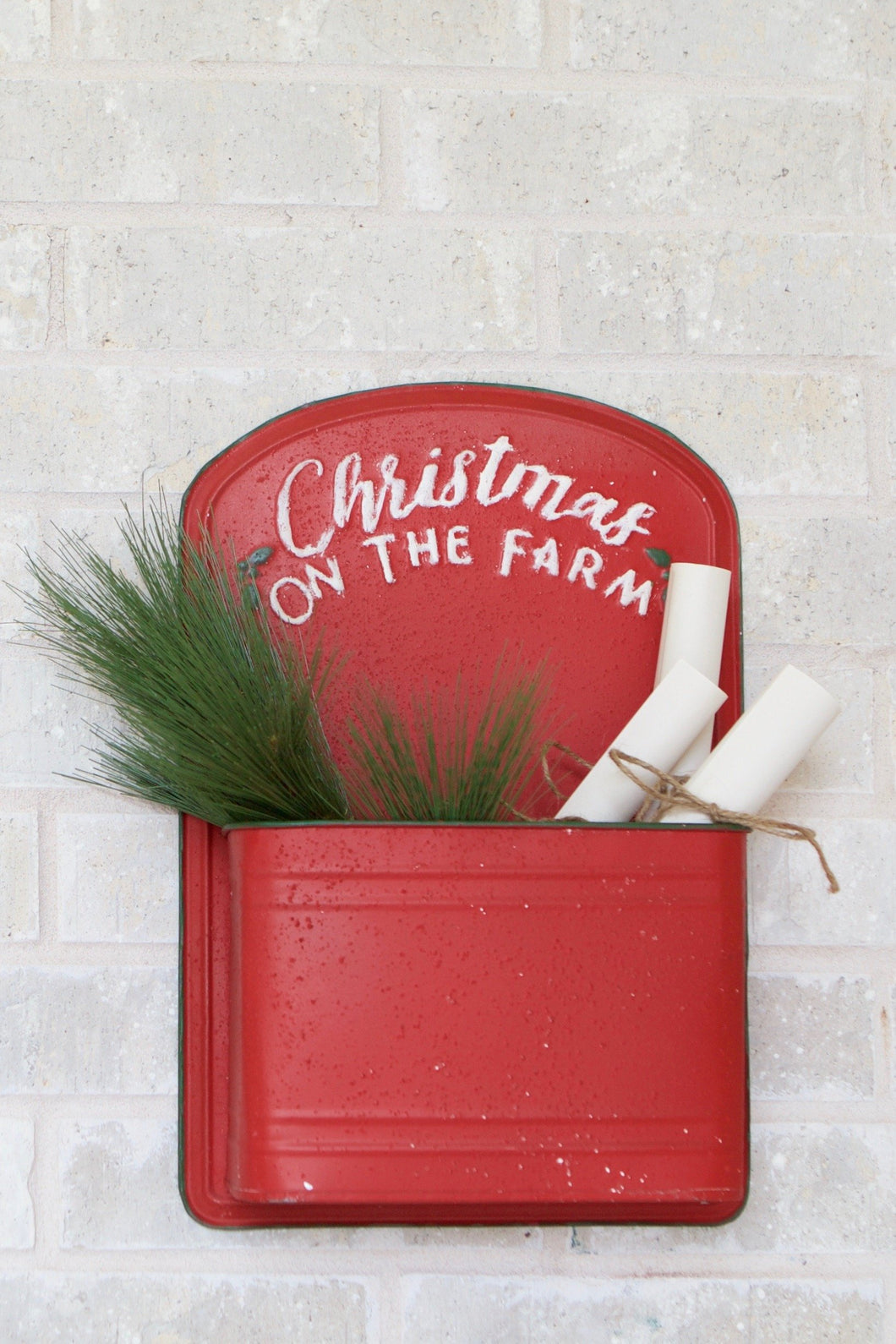 Red Farmhouse Christmas Wall Pouch