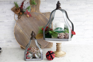 Galvanized Pyramid Open Lantern Set