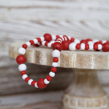 Load image into Gallery viewer, Red & White Bead Garland
