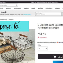Load image into Gallery viewer, Chicken Wire Basket Set