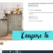 Load image into Gallery viewer, Vintage Style Corrugated Storage Bin Set
