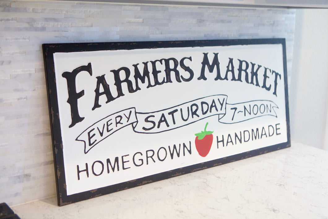 Farmers Market Sign With Strawberry