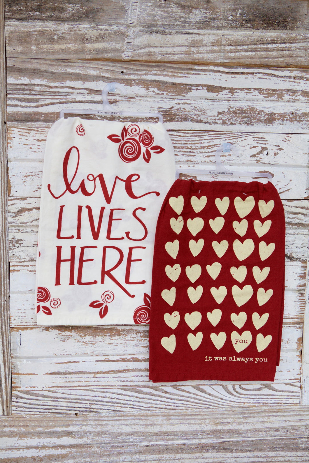 Red Love Themed Kitchen Towel Sets