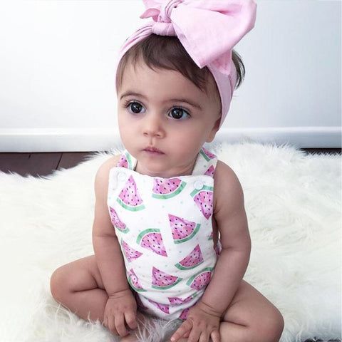 Baby Girls Watermelon Printed Jumpsuit with Headband