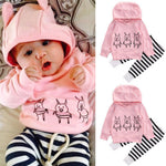Newborn Baby Girl Hooded Top and Pant Set