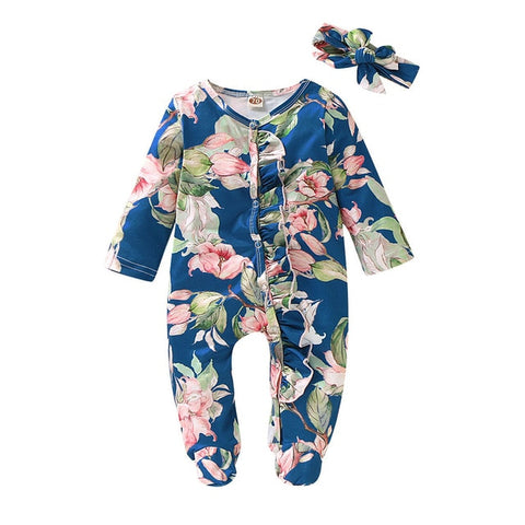 Baby Girl Footed Sleeper Romper with Headband