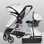 Baby Pram 3 In 1 Leather Stroller With Car Seat