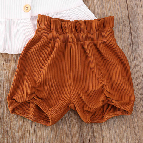 2 PCS Baby Girl Knitted Vest Top Sets