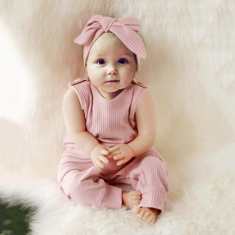Baby Girl Patchwork Romper with Headband