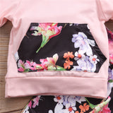Baby Girl Floral Printed Hooded Top and Pants