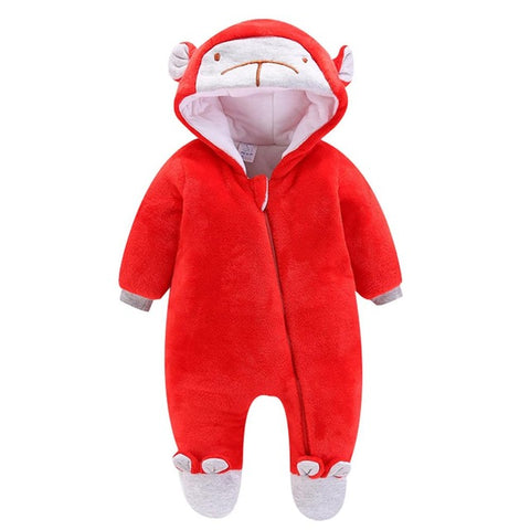Baby Boy or Girl Fleece Rompers with Hood