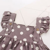 Baby Girls Sleeveless Ruffles Dot Print Romper