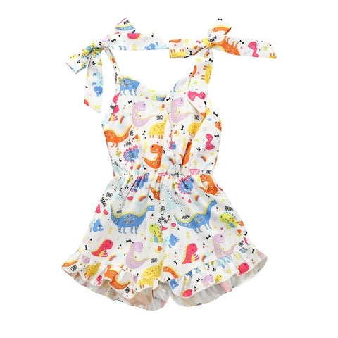 Baby Girl Summer Sleeveless Dinosaur Print Romper