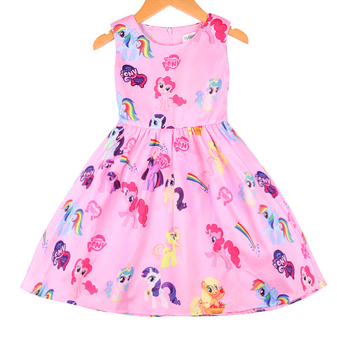 Cartoon Little Pony and Elsa  Printing Dress For Girls