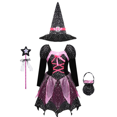 Girls Witch Costume with Sparkly Silver Stars Printed Carnival Cosplay Dress with Pointed Hat Wand Dress Up Clothes