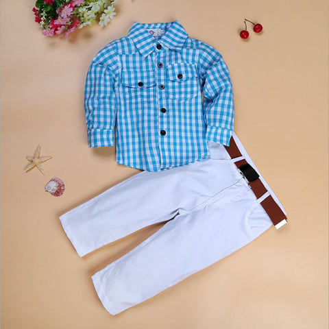 Plaid Shirt and Pants Set with Belt
