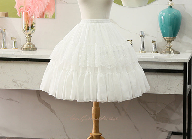 Ivory Cosplay Petticoat Bridal chiffon Short Crinoline Ruffle Prom Dress Short Underskirt Puffy Skirt
