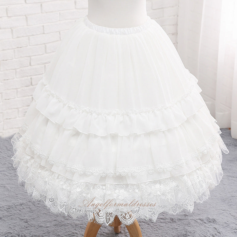 Casual Lolita Petticoat 65-45cm Adjustable White lace Pettiskirt A line Under Skirt