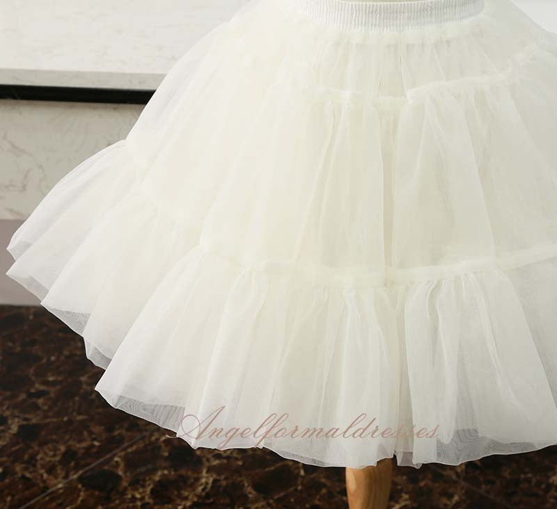 Solid Color Short Tulle Petticoats Elastic Waistband A Line Mesh Underskirt Crinoline For Wedding Dress
