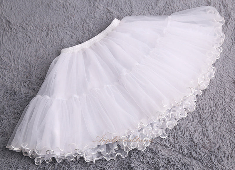 Women Girls Cosplay Lolita Petticoat Bridal Tulle Short Crinoline Petticoat Multi Layered Prom Dress Short Underskirt