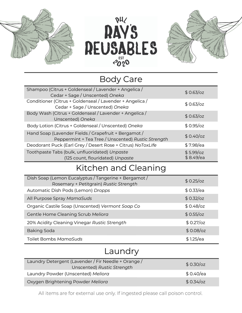a menu detailing a variety of bulk refillable cleaning and body care products