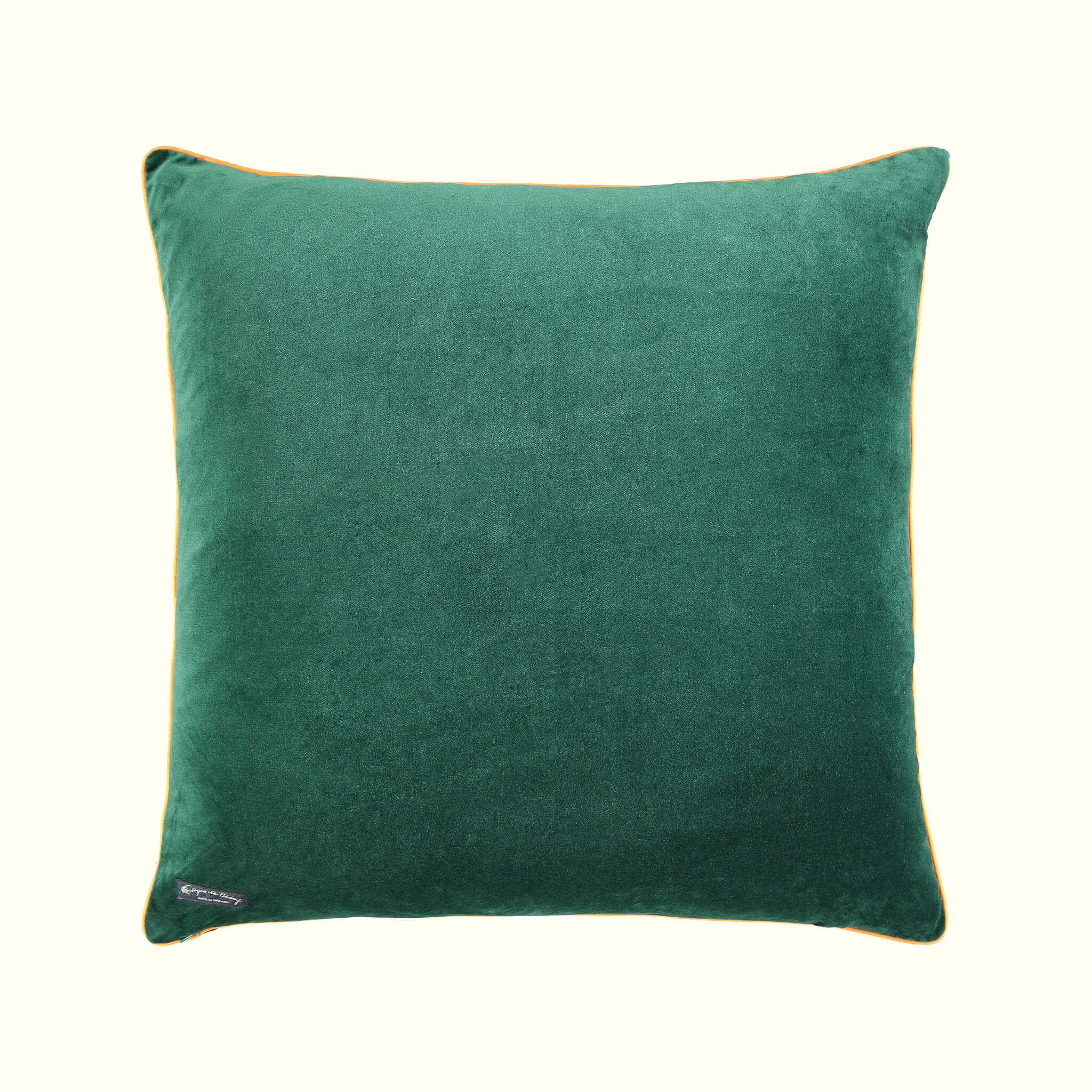 A luxury British cotton velvet cushion by GVE in olive Dune print design.