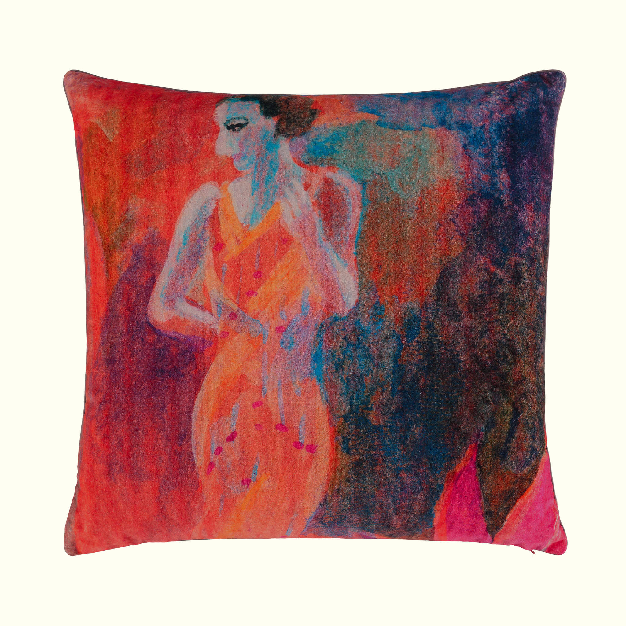 A luxury British cotton velvet cushion by GVE in vermillion Conversation print design.