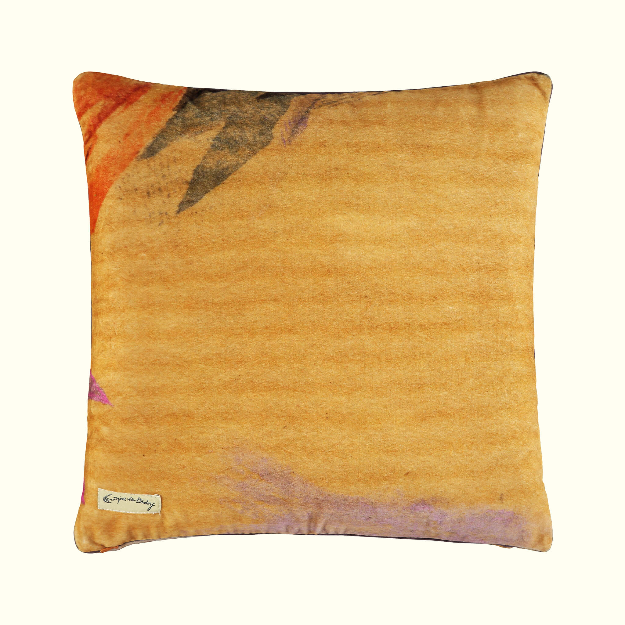 A luxury British cotton velvet cushion by GVE in gold Conversation print design.