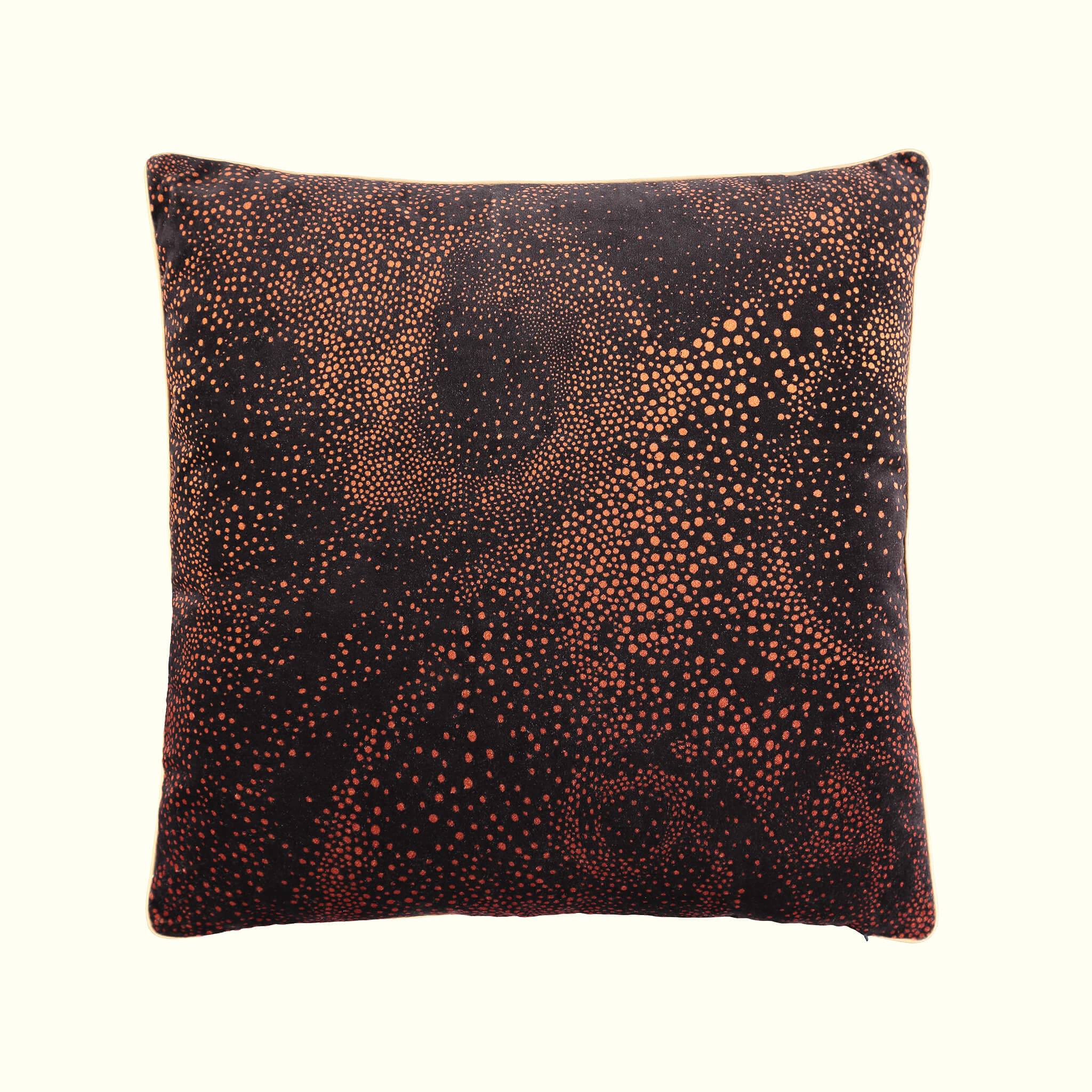A luxury British cotton velvet cushion by GVE in black and red Aurora print design.