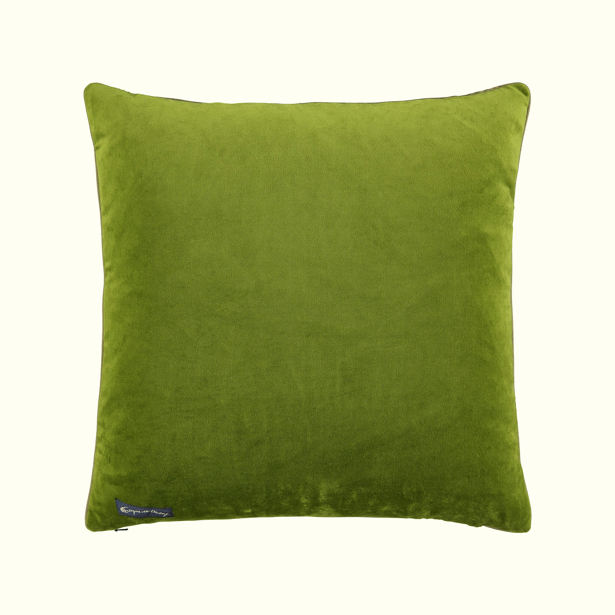 Aurora Olive And Pink In Cotton Velvet Cushion Gve Co