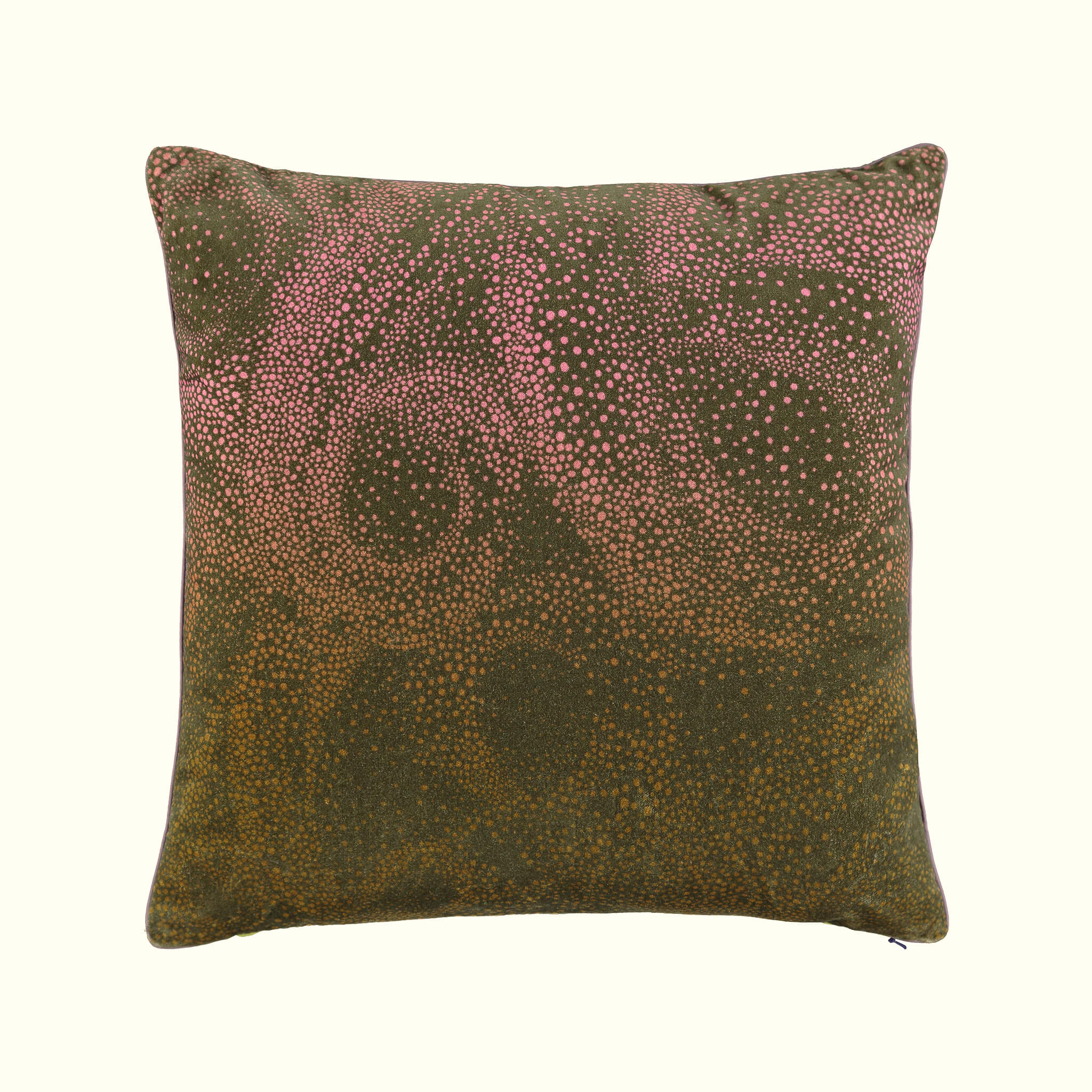 A luxury British cotton velvet cushion by GVE in olive and pink Aurora print design.