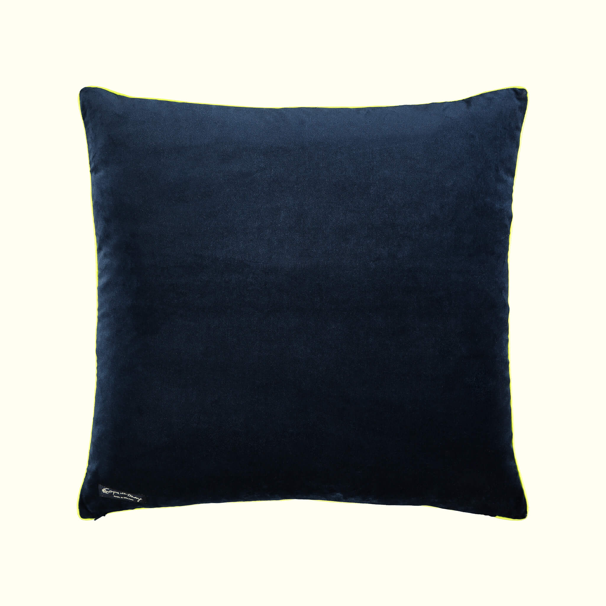 A luxury British cotton velvet cushion by GVE in navy and gold Aurora print design.