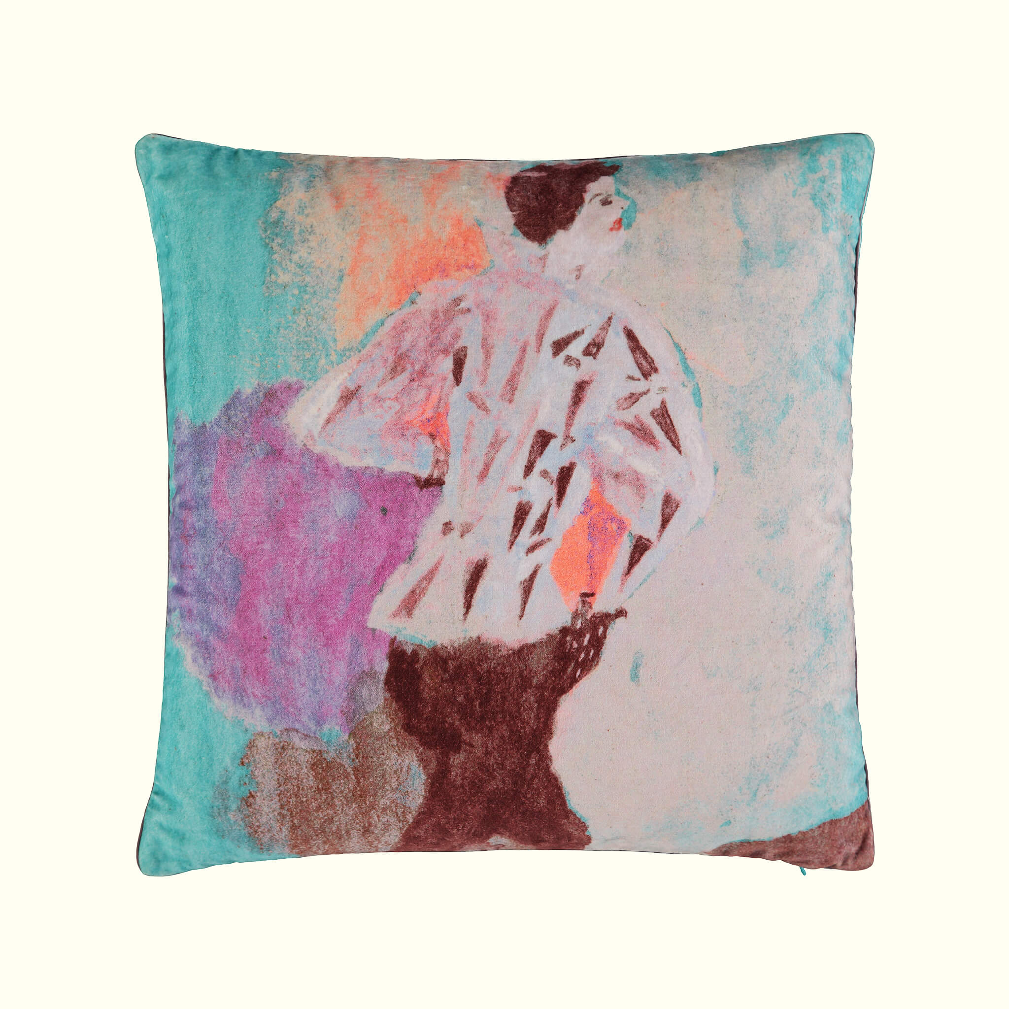 A luxury British cotton velvet cushion by GVE in aqua Conversation print design.