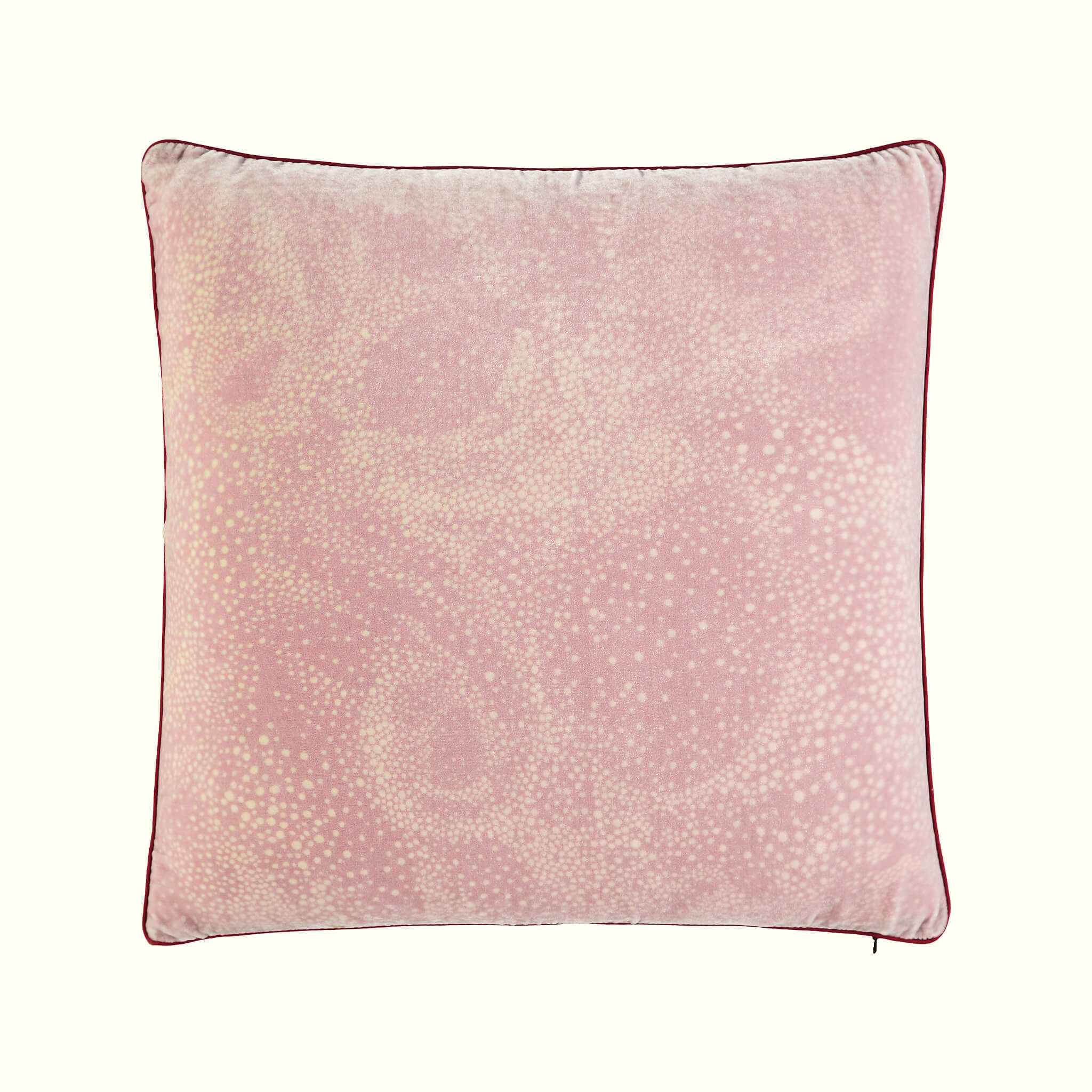 A luxury British silk velvet cushion by GVE in dusty pink Aurora print design.