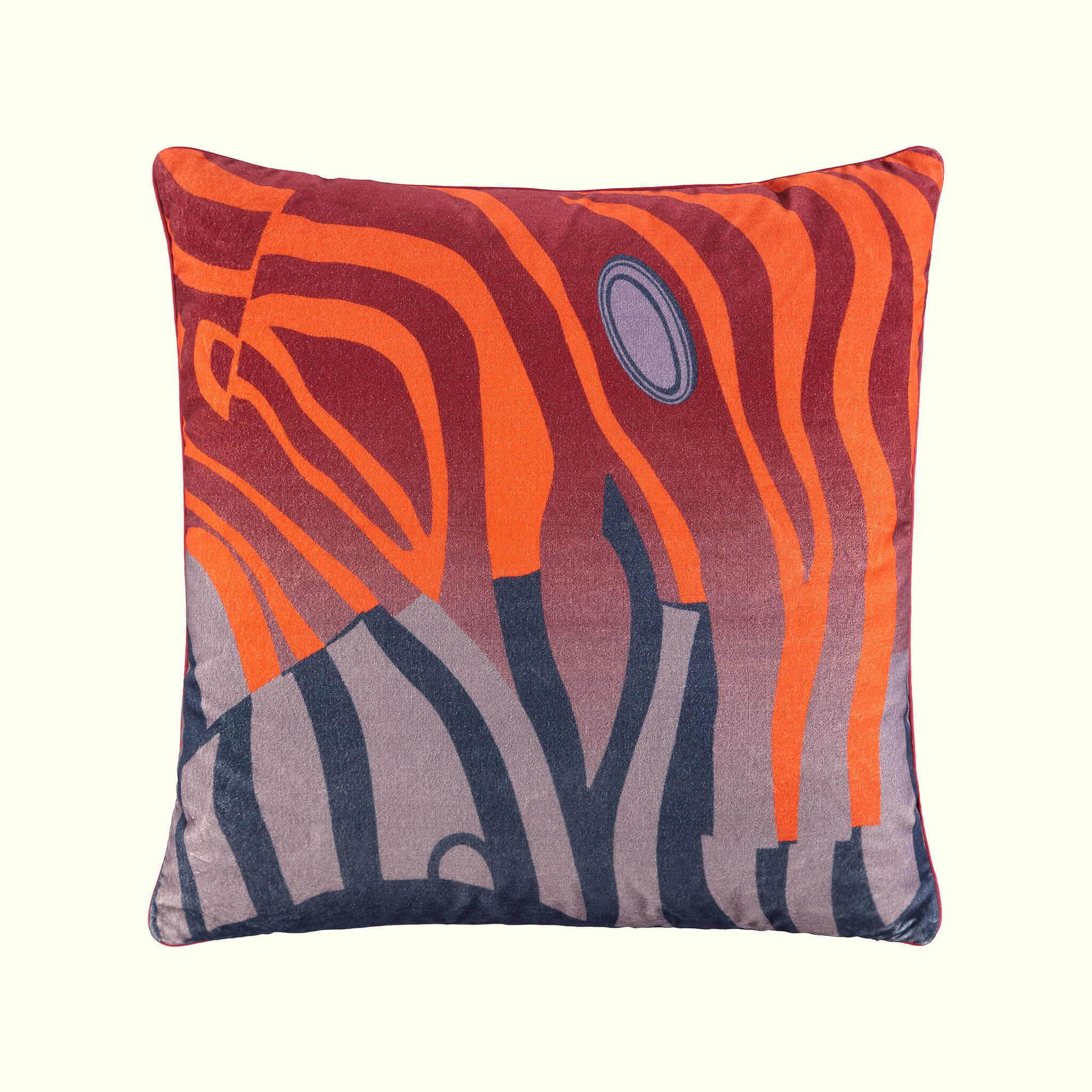 A luxury British cotton velvet cushion by GVE in scarlet and steel Dune print design.