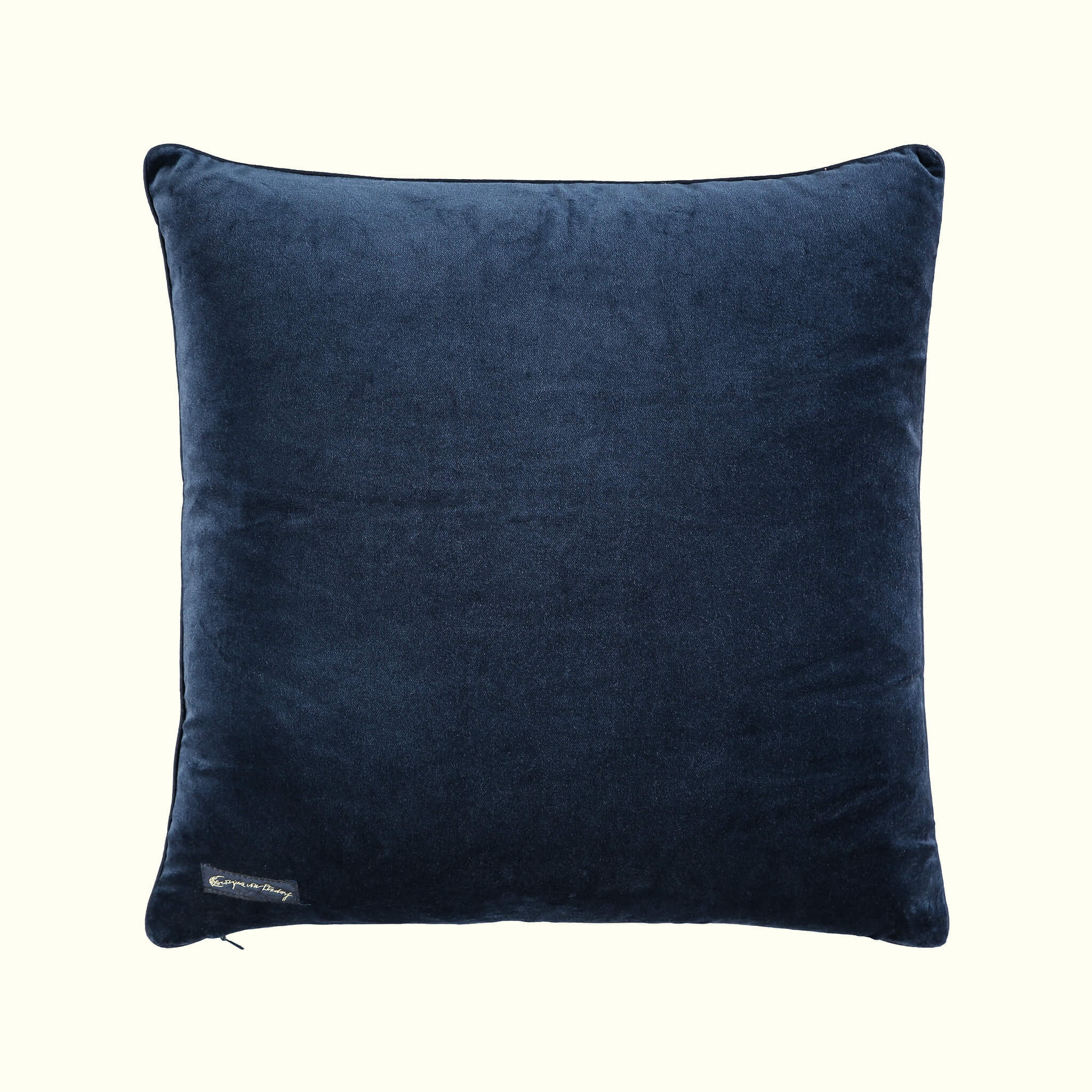 A luxury British cotton velvet cushion by GVE in scarlet Dune print design.