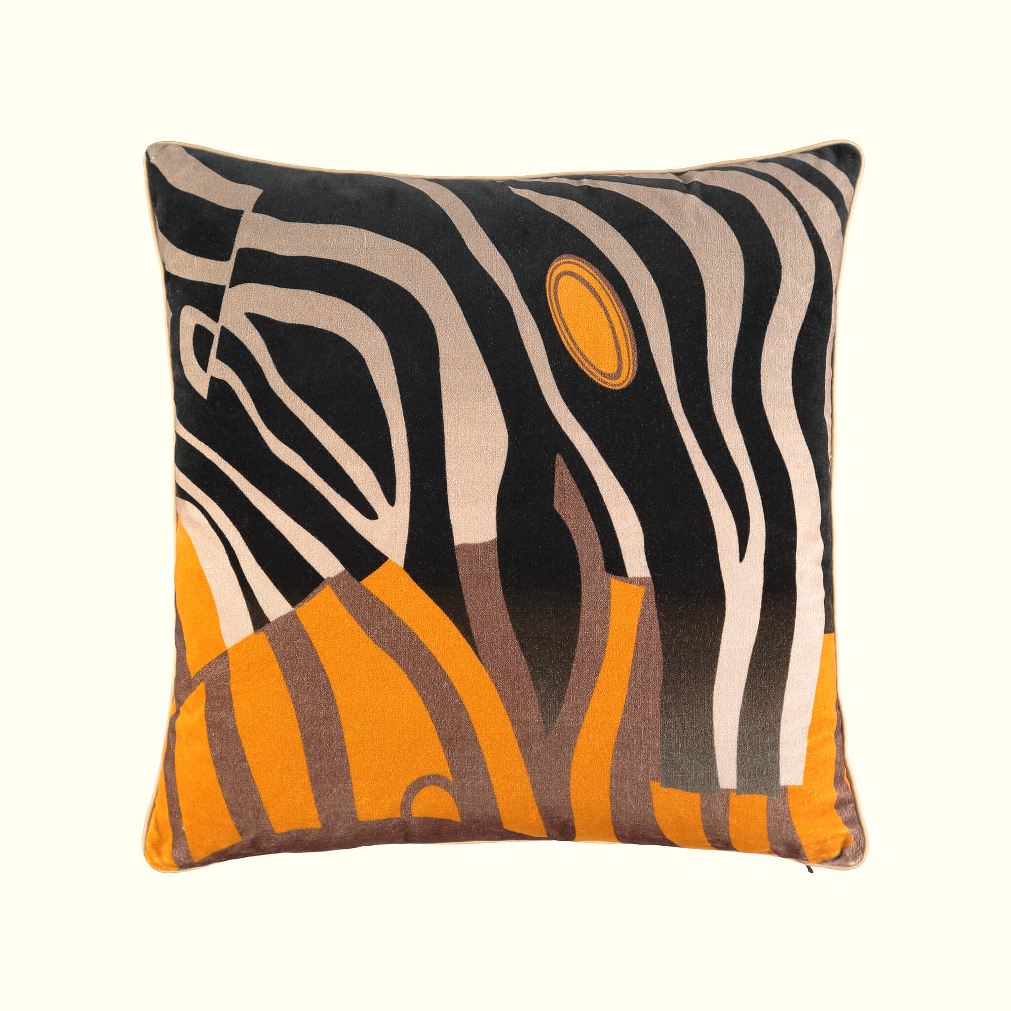 A luxury British cotton velvet cushion by GVE in black and amber Dune print design.