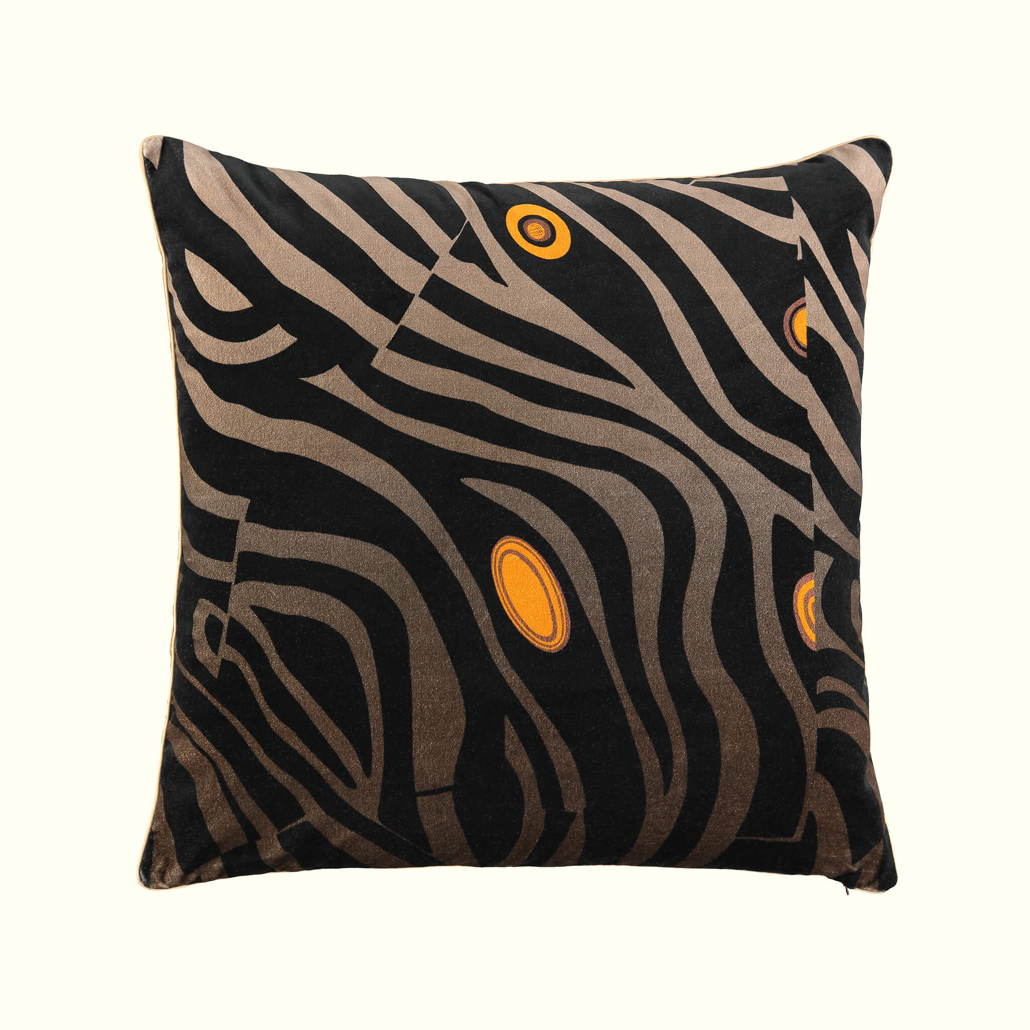 A luxury British cotton velvet cushion by GVE in black Dune print design.