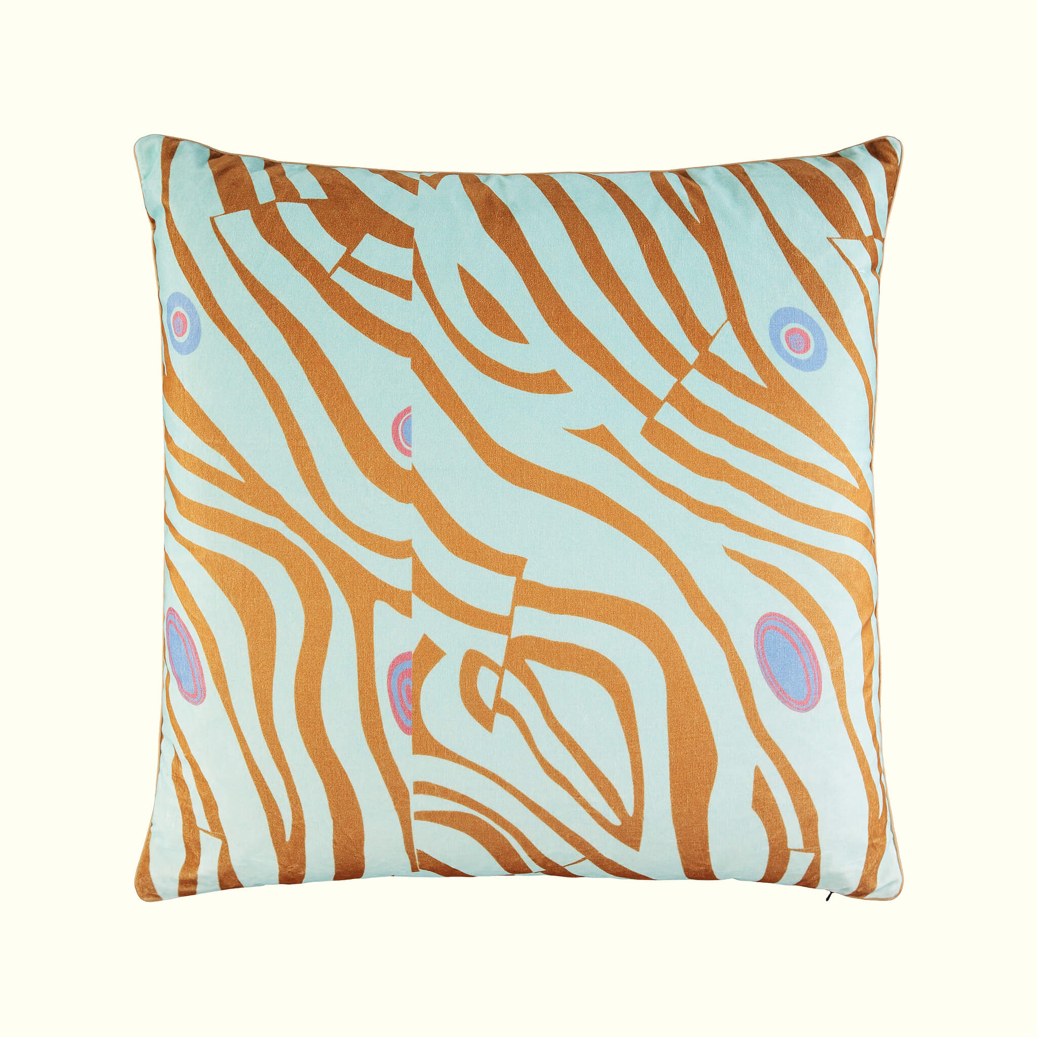A luxury British cotton velvet cushion by GVE in ice Dune print design.