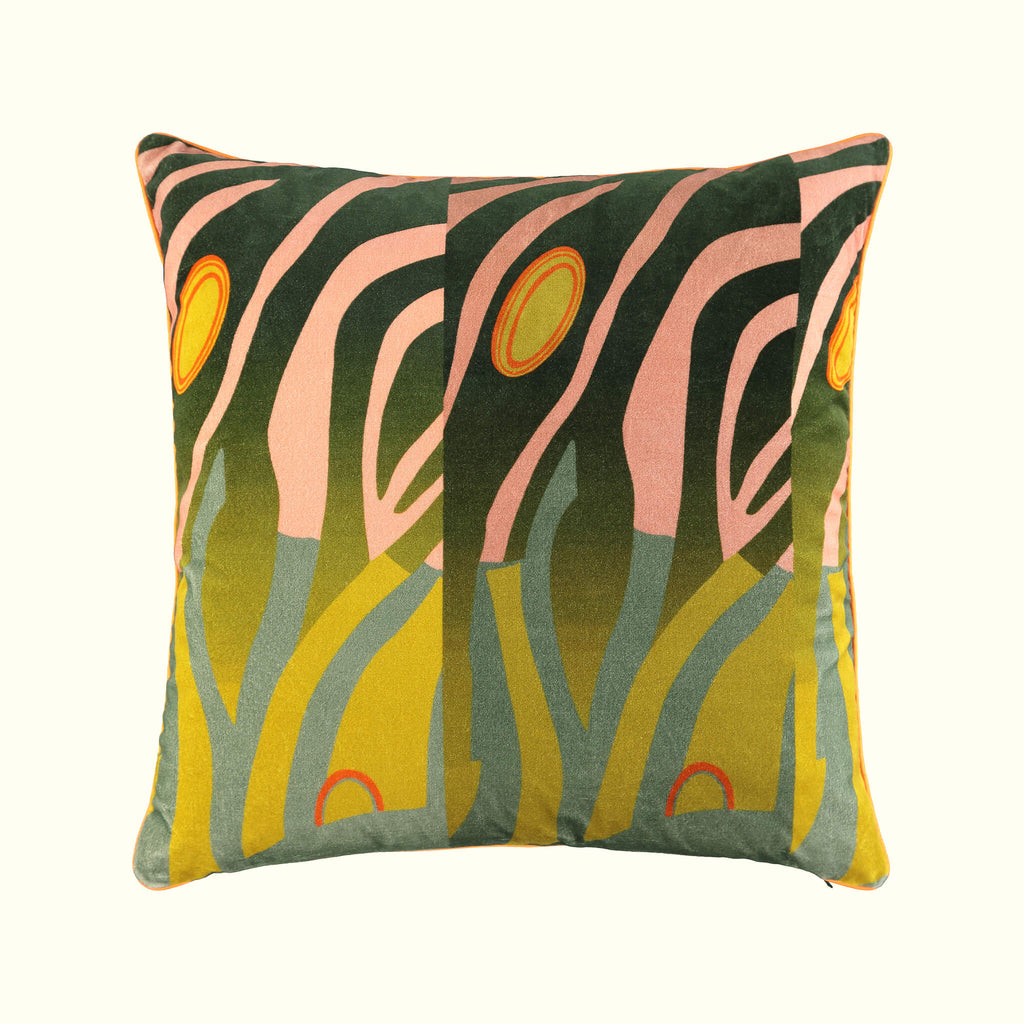A luxury British cotton velvet cushion by GVE in olive and old rose Dune print design.