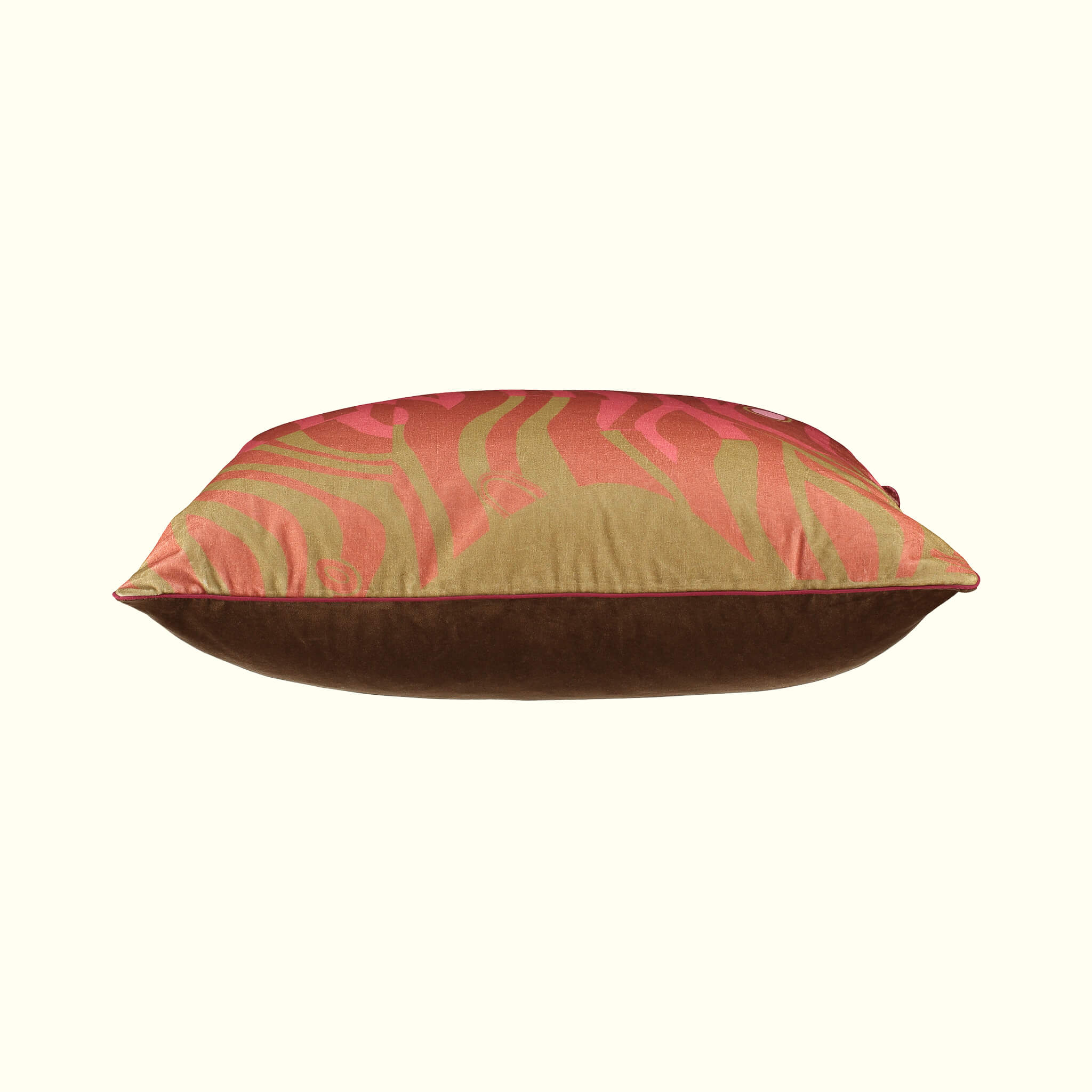 A luxury British cotton velvet cushion by GVE in rose and artichoke Dune print design.