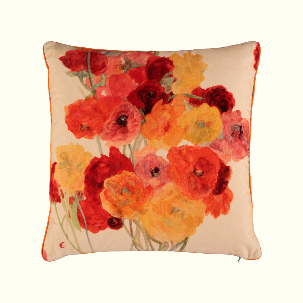 A luxury British cotton velvet cushion by GVE in cream and scarlet Ranunculus print design.